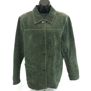 D & Co Green 100% Suede Leather Jacket Coat Large